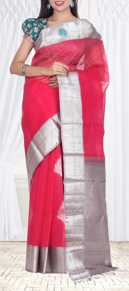 Candy Pink Pure Kora Silk Saree — Diwali Collection
