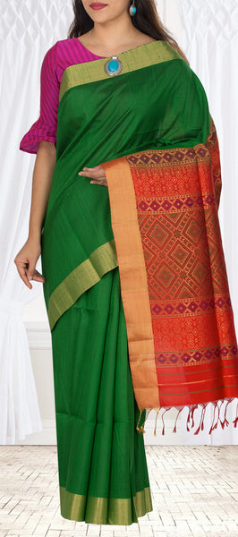 Leaf Green & Orange-Red Pure Jute Silk Saree