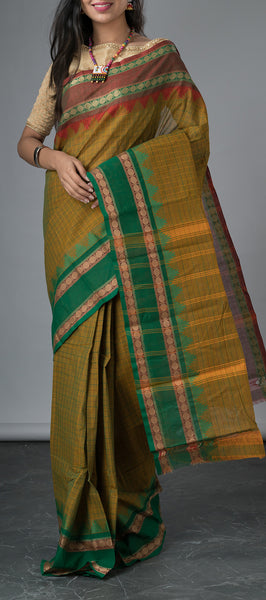 Olive Green Cotton Saree with Ganga Jamuna Border