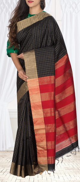 Black & Kumkum Red Pure Jute Silk Saree