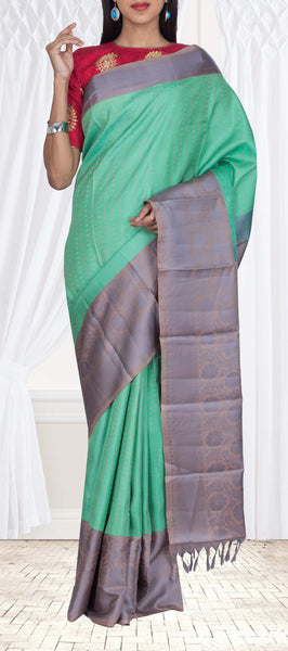 Teal Green & Grey Pure Soft Silk Saree
