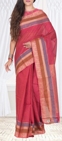 Cherry Pink Maheshwari Cotton Saree