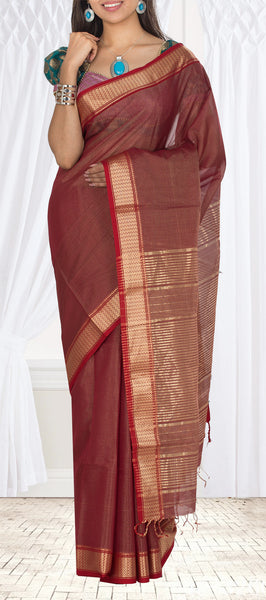 Arakku Red Traditional Maheshwari Cotton Saree