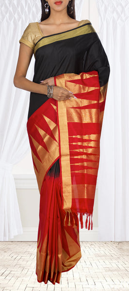 Black & Red Soft Silk Saree
