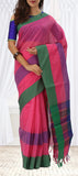 Pink, Purple & Green Linen Cotton Saree