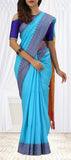 Sky Blue & Mustard Semi Linen Saree