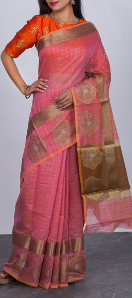 Onion Pink Semi Silk Cotton Saree