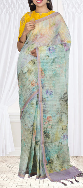 Pale Green Semi Tussar Silk Casual Saree