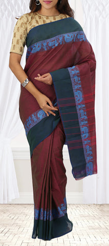 Magenta & Dark Green Summer Cotton Saree