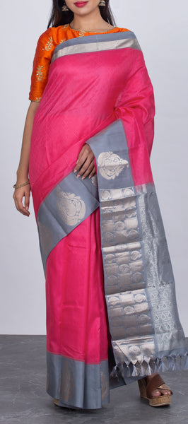 Pink Lightweight Kanchipuram Silk Saree
