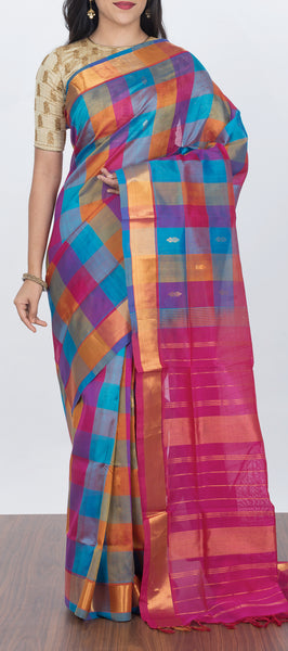 Traditional Silk Cotton Saree with Checks