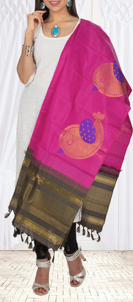 Dark Pink Pure Kanchipuram Silk Dupatta