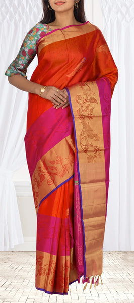 Orange-Red & Dark Pink Lightweight Kanchipuram Handloom Silk Saree