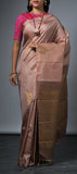 Borderless Tortilla Brown Kanchipuram Silk Saree
