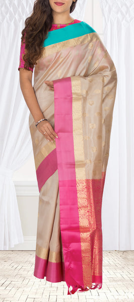 Fawn, Peach & Sky Blue Soft Silk Saree