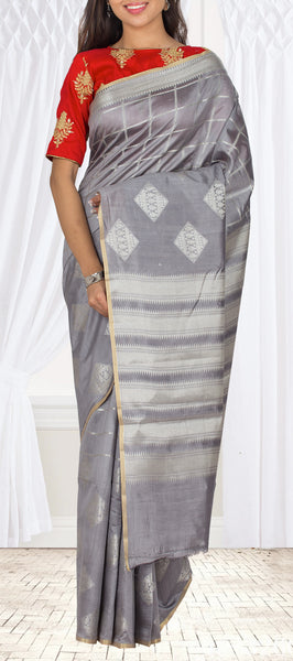 Grey Tussar Silk Saree