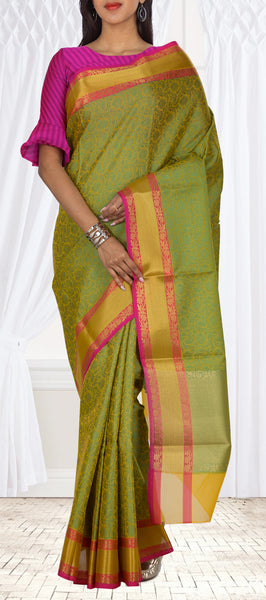 Moss Green & Pink Organza Casual Saree