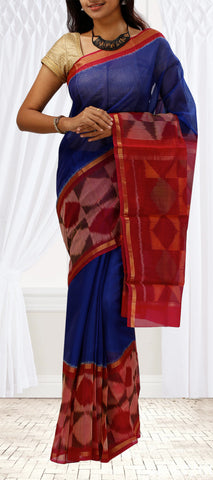 Blue & Red Silk Cotton Saree