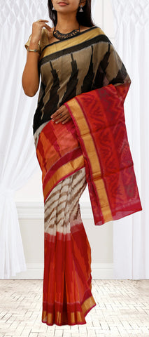 Black, Red & Cream Silk Cotton Saree