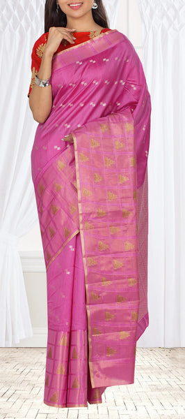 Hot Pink Tussar Silk Saree