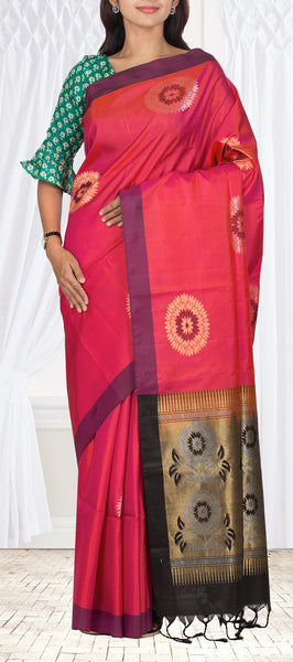 Onion Pink & Black Pure Soft Silk Saree With Half-Fine Zari
