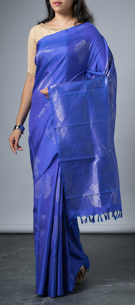 Borderless Royal Blue Soft Silk Saree