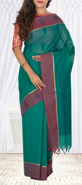 Green & Maroon Cotton Saree