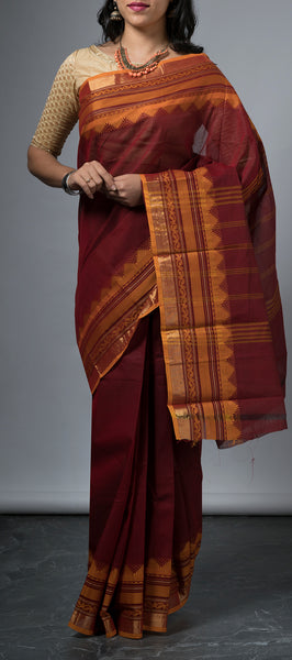 Traditional Maroon Cotton Saree