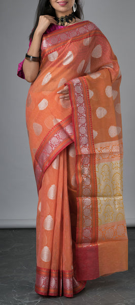 Papaya Orange Semi Linen Saree