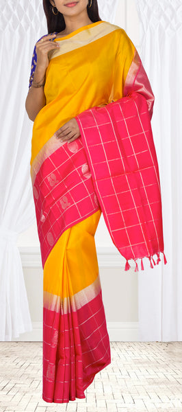 Mango Yellow & Neon Pink Soft Silk Saree