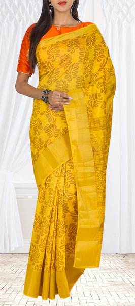 Bright Yellow Printed Semi Silk Casual Saree