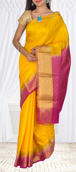 Mango Yellow & Dark Pink Semi Tussar Silk Casual Saree