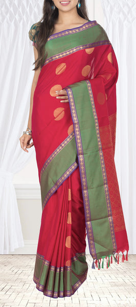Dark Red & Green Semi Silk Cotton Casual Saree