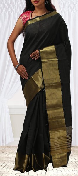 Black Semi Tussar saree