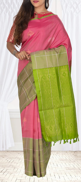 Pink & Green Soft Silk Saree