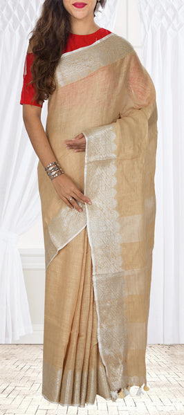 Fawn Linen Silk Saree