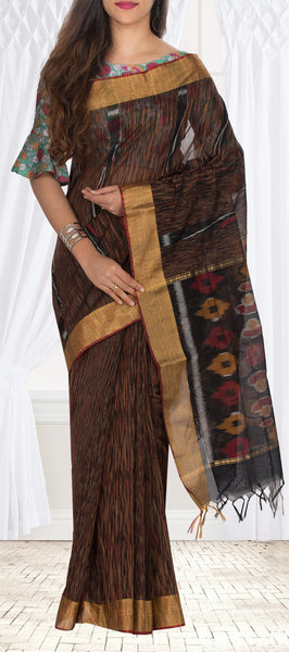 Black & Maroon Pochampalli Semi Silk Cotton Casual Saree