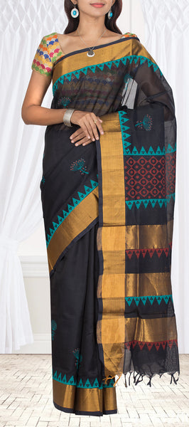 Black Silk Cotton Saree With Block Prints