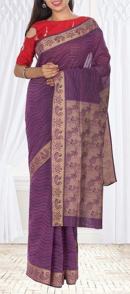 Purple Maheshwari Cotton Saree