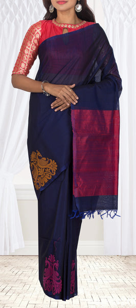 Dark Blue Silk Cotton Saree With Jute Finish