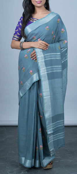 Grey Linen Saree with Embroidery