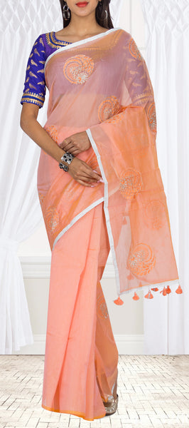 Peach Semi Silk Cotton Casual Saree