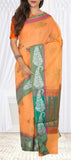 Orange & Green Semi Silk Cotton Saree With Linen Finish