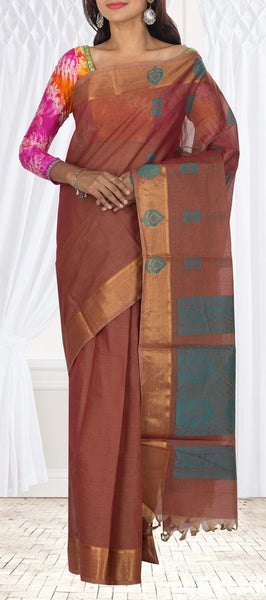 Rust Brown Traditional Summer Cotton Saree