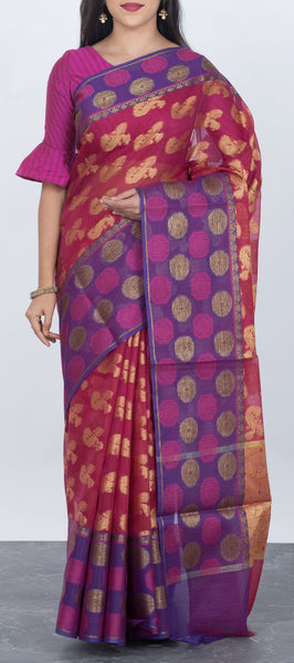 Dark Pink Semi Benarasi Saree