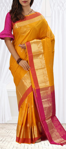 Mustard And Pink Softsilk Saree