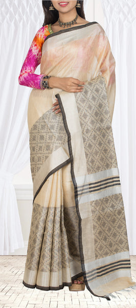 Sand Brown Linen Silk Saree With Tissue Zari