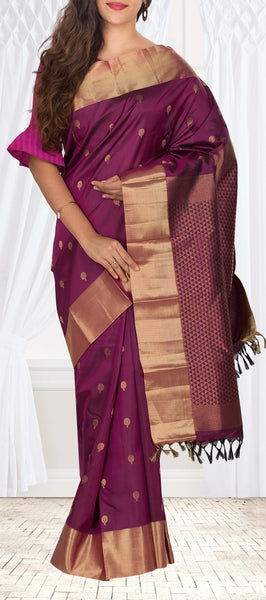 Purple Lightweight Kanchipuram Handloom Silk Saree