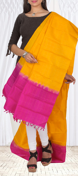 Mango Yellow & Bright Pink Pure Kanchipuram Silk Dupatta