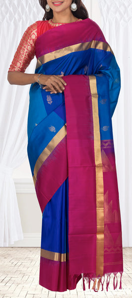 Blue & Magenta Soft Silk Saree